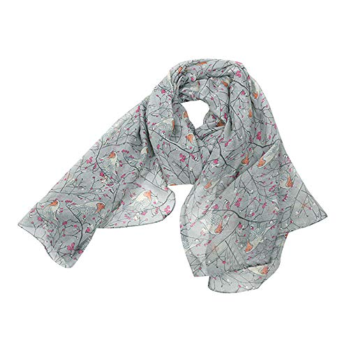 ◕‿◕Women Ladies Long Cute Winter Christmas Robin Bird Patten Print Scarf Wrap by Maonet (B)