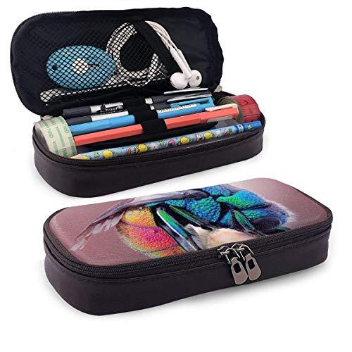 AOOEDM Un colorido insecto de cuero de PU, estuche para lápices, estuche para bolígrafos, bolsa con cremallera, útiles escolares para estudiantes, monedero, bolsa de maquillaje cosmético