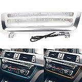 Braveking1 Panel de Consola Central del Coche Ambiente Interior Doble Marco de luz LED de Color para BMW Serie 3 Serie 4 3GT M3 M4 2012-2019 Aire Salida de Ventilación Marco de Cubiertas,Pearl White