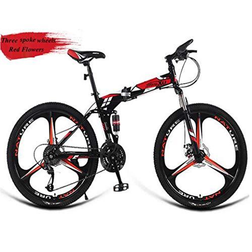 RPOLY 27 de Velocidad Bicicleta de Montaña Plegable, Adulto Bici Plegable, Doble Freno de Disco, Bicicletas, Variable Fuera de la Carretera Bicicleta Velocidad,Red_26 Inch