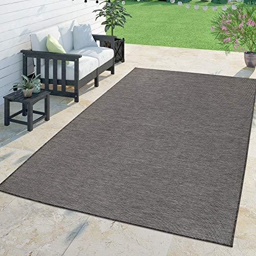 TT Home Moderner Outdoor Teppich Wetterfest Für Innen- Und Außenbereich Meliert In Grau, Größe:140x200 cm