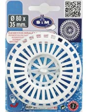 S&M Rejilla plástico grande para desagüe de fregadero de cocina y/o baño acabado en blanco Ø80 x 35 mm