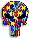 Daapplok Etiqueta Engomada Del Coche Etiqueta De La Pared 12.7Cmx9.3Cm Concienciación Sobre El Autismo Punisher Skull Etiqueta Engomada Del Coche Personalidad Skull Decal2Pcs / Set