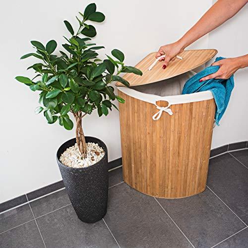 Relaxdays Eckwäschekorb Bambus, faltbar, 64L, 49,5x37x65cm - 3
