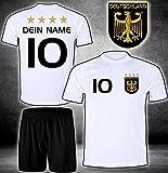 DE-Fanshop Deutschland Trikot Hose mit GRATIS Wunschname Nummer Wappen Typ #D 2020 im EM/WM Weiss - Geschenke für Kinder,Jungen,Baby. Fußball T-Shirt personalisiert