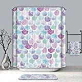 DECMAY 3D Mermaid Scales Shower Curtain for Bathroom Decor Purple Pink Blue Summer Style Ocean Them Waterproof Fabric Bath Curtain for Girl and Woman,71 Inch
