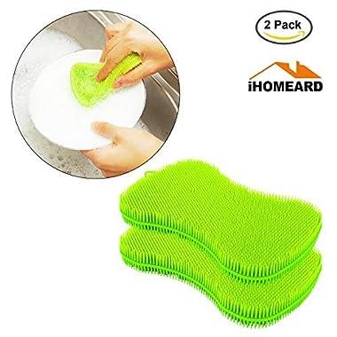 Silicone Sponge, Silicone Food-Grade Multipurpose Antibacterial Scrubber Non Stick Kitchen Cleaning Dishwashing Mildew-Free Brush Towel Scrubber For Washing Pan/Bowl/Wash Fruit Vegetable