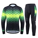 BALEAF Men's Cycling Jersey Sets Long Sleeve Clothing Bike Outfit 4D Padded Pants Pocket MTB Riding Shirt Green Size XXL