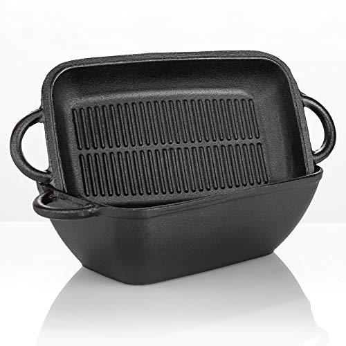 Ottia 2 in 1 Gusseisen Bräter, Topf mit Pfanne Eingebrannt mit Antihaft zum Brotbacken Schmortopf Dutch Oven Set 3,6L Backofengeeignet Brotbackform mit Deckel