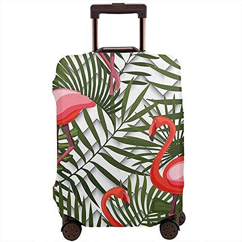 Funda de Equipaje de Viaje Hawaii Tropical Leaves Pink Flamingo Suitcase Cover Protector Luggage Baggage Cover