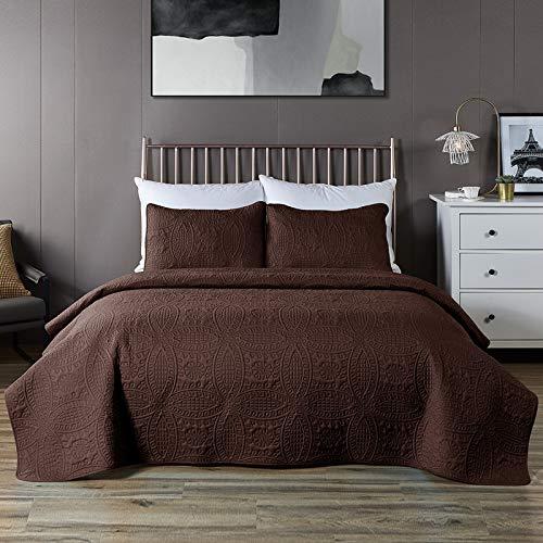 COISINI Tagesdecken-Set, Schokobraun, 3-teilig, Übergröße, für Queen-Size-Betten, Schokoladenbraun