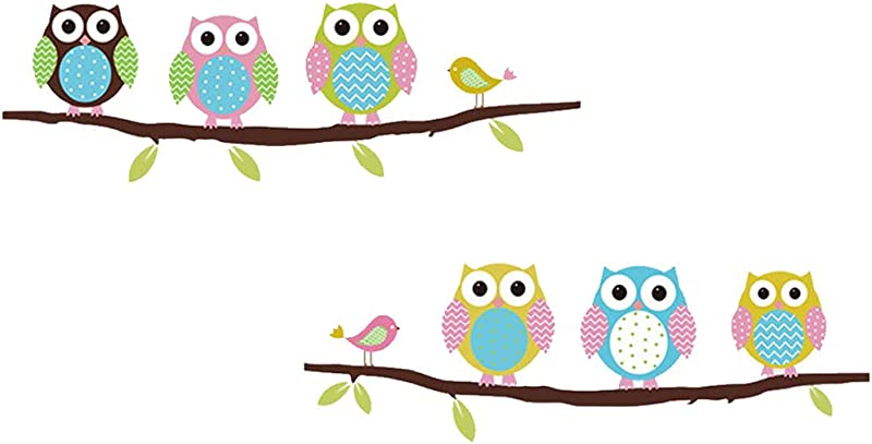 Wall Decal Lovely Owls Leaves Home Sticker Paper Removable Living Dinning Room Bedroom Kitchen Art Picture Murals DIY Stick Girls Boys Kids Nursery Baby Playroom Decoration