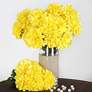 4 Yellow Large Silk Chrysanthemums Mums Bushes Wedding Flowers Bouquets Sale cf003