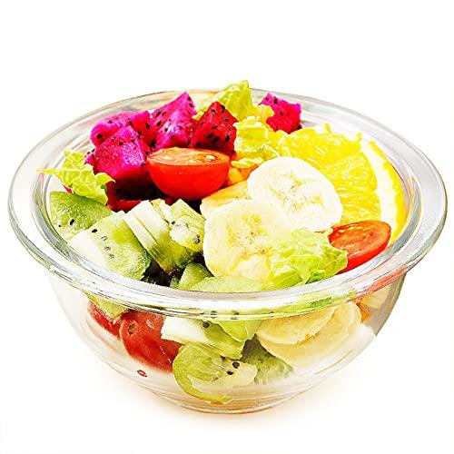 COCINA DE COCINA MEZCLACIÓN DE LA CABEZA: el tazón de vidrio es fácil de mantener, y el diseño estable se puede utilizar para la preparación de la dieta y el almacen #490ml