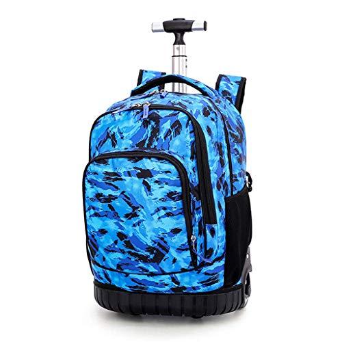 Mochila de Camuflaje con Ruedas 31L Gran Capacidad Mochila con Ruedas para Adolescentes Estudiantes Adultos Bolsas de Viaje Bolsa de Carro rodante Bolsa de Equipaje-Azul