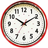 Wall Clock Countryside Style Metal Retro Vintage Wall Clock Silent Non Ticking Easy to Read for Living Room Kitchen Bedroom Office 13 Inch Red