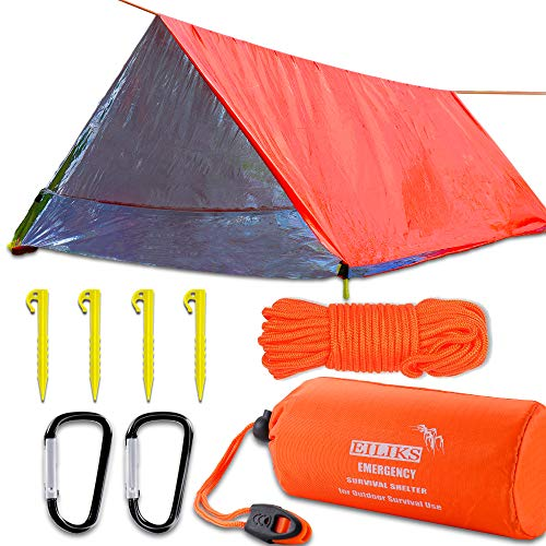 EILIKS Emergency Sleeping Bag Camping Bivy Sacks, Waterproof Lightweight Thermal Life Tent Emergency Survival Shelter, Survival Gear for Outdoor Adventure Camping Hiking