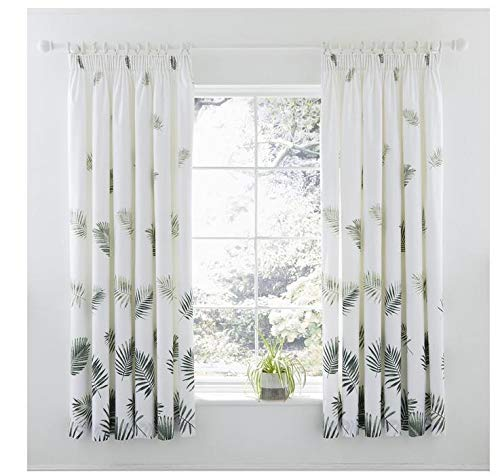 Charlotte Thomas Fern Pair Pencil Pleat Lined Curtains Coppia di Tende Foderate con Pieghe a Matita, Poliestere e Cotone, Verde, 183 x 168, 4 Pacco