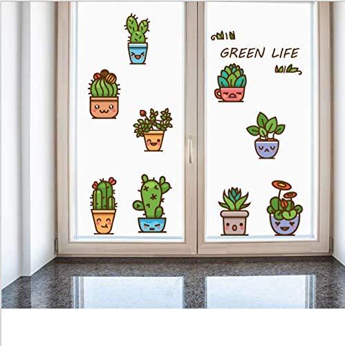 Etiqueta de la pared planta flor en maceta esquina de la ventana pintura decorativa pegatina limpiable impermeable 115 * 45 cm