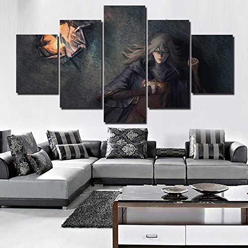 sanjiiNG Leinwandbilder Wohnkultur 5 Stücke Dark Souls 3 Feuerwehr Gemälde Wandkunst Gedruckt Poster Hotel Modulare Wohnzimmer Rahmen40cmX60cmX2 40cmX80cmX2 40cmX100cmX1