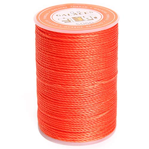 FANDOL Waxed Polyester Cord Wax-Coated Strings Waterproof Round Wax Coated Thread for Braided Bracelets DIY Accessories or Leather Sewing (Tigerlily)
