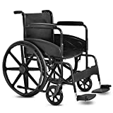 Giantex Folding Medical Wheelchair Manual, 20'' Seat, Large 23' Durable Rubber Wheel Smart Brakes 8' Casters, Pocket on Back, Swing Away Footrest, Desk-Length Arms, Transport Wheelchairs