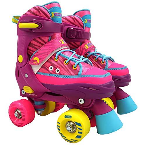 Best Sporting Rollschuhe für Kinder und Jugendliche, Größe verstellbar, ABEC 7 Carbon, Farbe: pink-gelb-blau, Größe: 32-35