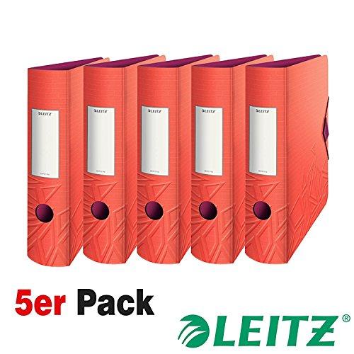 Leitz 11160024 Multifunktions-Ordner (A4, Abgerundeter Rücken 8,2 cm Breite, Gummibandverschluss, Kunststoff, Active Urban Chic) (rot | Mehrfach-Pack)