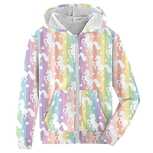 Fanient Girls Rainbow Unicorn Hooded Sweatshirt Zip Up Hoodies Comfortable Jacket Novelty Coat Size 6-8