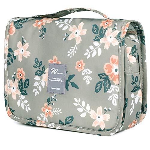 Reise Kulturtasche Zum Aufhängen Kulturbeutel Kosmetiktasche Waschtasche für Kinder Frauen Mädchen Damen (Graue Blume)