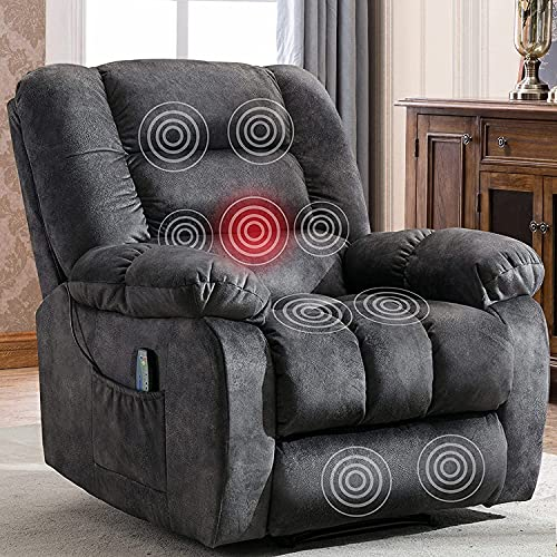 ANJ Massage Recliner Chairs with Heat Overstuffed Fabric Manual Recliners for Living Room Bedroom, Comfy Padded Reclining Chair (Gray)