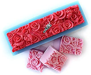 Rose Silicone Soap Mold Rectangular Embossed Flower Loaf Mould DIY Handmade Art Craft Relief Decoration Tool