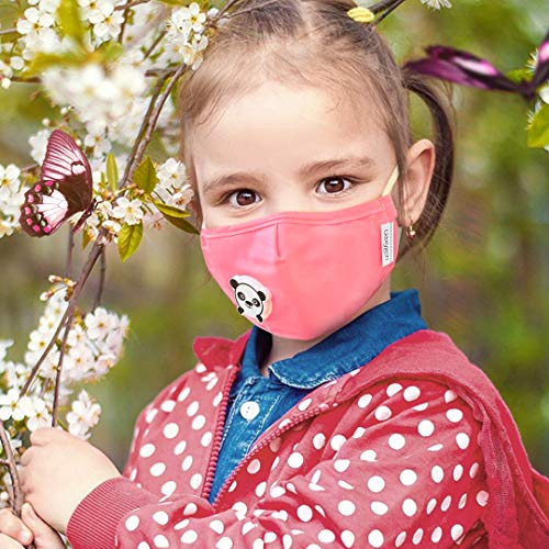 FACE Kids MASK Washable Cotton Child Mask Cartoons Panda Smart Fashion Pink Mask Reusable/Inside: 1 MASK and 2PCS Replacement Filters