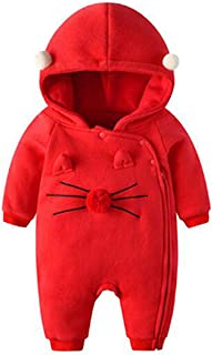 Inlefen Baby Infant Jumpsuit Cute Cotton Soft Warm Hoodied Zipper Cartoon Autumn Winter Children Newborns Sleepwear Outfit