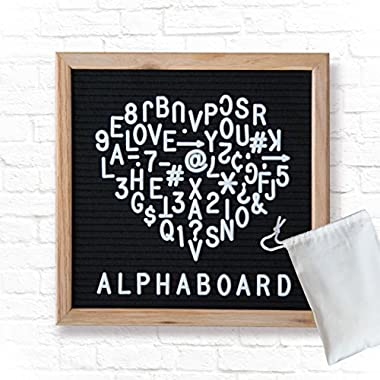 Alphaboard Changeable Felt Letter Board: Handmade 10  x 10  Oak Wood Frame with 290 White 3/4  Letters, Numbers, & Punctuation, Mounting Wall Hook, Drawstring Letter Bag, Vintage Style, Charcoal Black