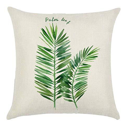 Hugyou - Funda de almohada para sofá, diseño de hojas verdes