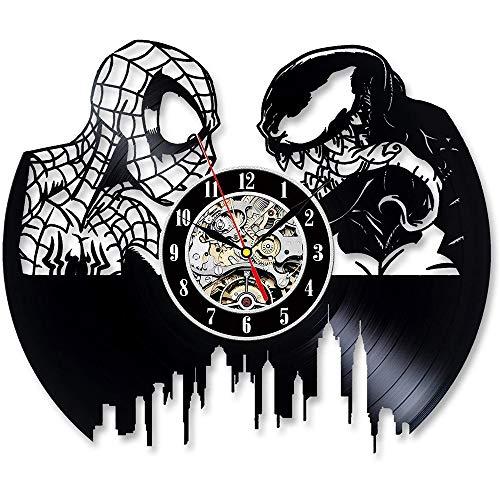 RUIXINBC Reloj De Pared del Hombre Araña Registro De Vinilo, Spiderman Vs Venom Reloj De Vinilo Pared para El Dormitorio Sala De Estar De Moda Creativa Reloj De Pared Simple Moderna