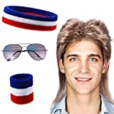 Men's Retro 80s Mullet Wig Punk Rocker Disco Mullet Wig USA Headband Wristband American Flag Sunglasses Costumes Halloween Funny Party Accessory Cosplay Wig(Cute style)