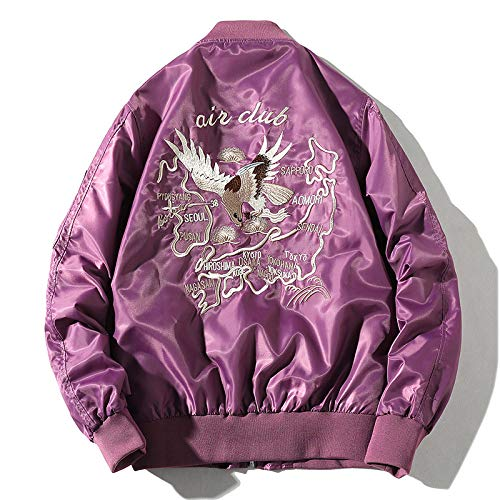 hjkg Chaqueta Beisbol,Bordado Hip Hop Púrpura Pilot Eagle Snake Hombre Vintage Pareja Harajuku Moda Casual Clásico Hip Hop Bombardero Ropa Deportiva Streetwear Outwear Unisex Mujeres Hombres, XXL