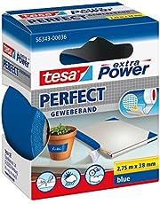 tesa Extra Power Perfect taśma z tkaniny – wzmocniona tkaniną taśma Ductape do majsterkowania, naprawiania, mocowania, wzmacniania i opisywania – niebieska – 2,75 m x 38 mm