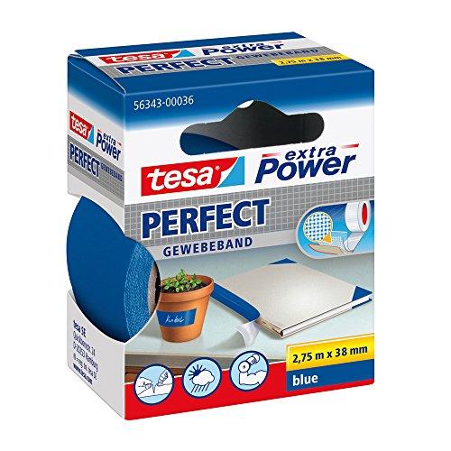 tesa extra Power Perfect Gewebeband - Gewebeverstärktes Ductape zum Basteln, Reparieren, Befestigen, Verstärken und Beschriften - Blau - 2,75 m x 38 mm