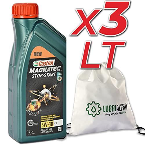 Olio motore 5w30 auto benzina Castrol Magnatec Stop Start 5w-30 C3 con borsa multiuso conf. 3x1lt