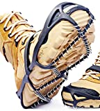 BOGI Crampons Ice Cleats Traction Snow Grips for Walking on Snow and Ice Anti-Slip with 2 Safety Velcro Straps & Storage Bag,Perfect for Walking Climbing Hiking Fishing Outdoors