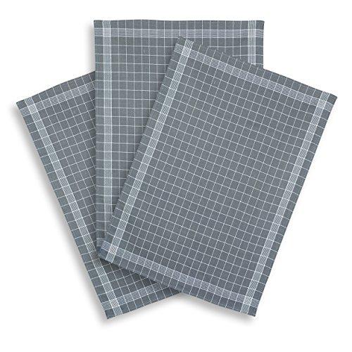 ziczac-affaires KRACHT, 3er-Set Geschirrtuch Halbleinen Trockenperle vollbunt grau, Edition, ca.60x80cm