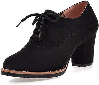 94b6c6f1386c8 BeautyTop Bottes Et Bottines Femmes Escarpins De Cheville Solides à Lacets  éPais pour Femmes CarréEs Chaussures