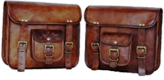 Motorcycle Side Pouch Brown Leather Side Pouch Saddlebags Saddle Panniers 2Bag