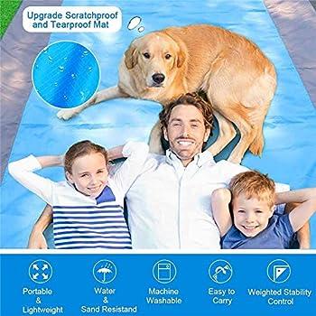 Cool Design Couverture de Plage imperméable - Couverture de Pique-Nique légère - Tapis de Plage sans Sable pour la Plage, Le Camping (200cm×210cm, 1 Bleu + 2 Gris)