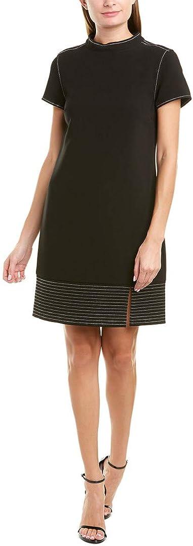 Vince Camuto Women's Short Sleeve Trapunto Hem Mock Neck Crepe Dress