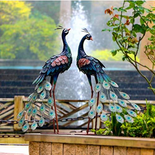 CHISHEEN Garden Peacock Statues Outdoor Metal Decor, Garden Art Sculptures Standing for Patio Yard Lawn Pond Home…