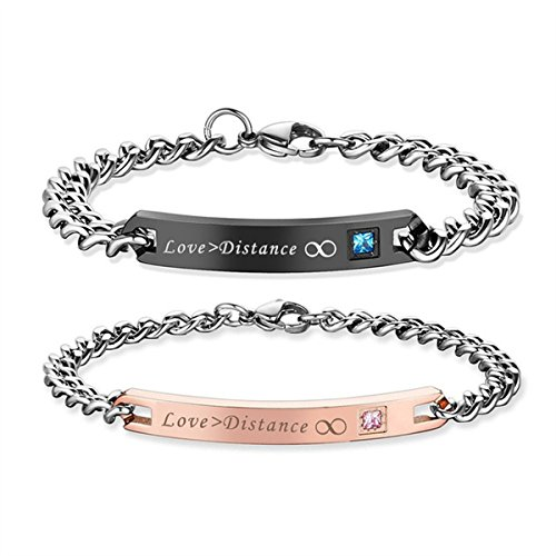 Gift for Lover His Queen Her King Stainless Steel Couple Bracelets for Women Men Jewelry Matching Set SXNK7 (Love Distance)